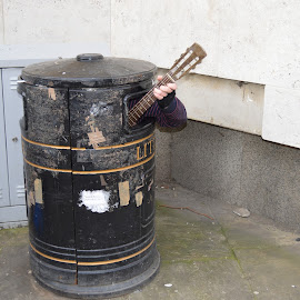 guitarist within a dustbin by Santosh Vanahalli - People Musicians & Entertainers ( cambridge )