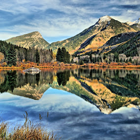 Beaver Lake by Roxie Crouch - Landscapes Mountains & Hills ( water, mountains, refelction, seasons, color, autumn, change, snow, colorado, beaver lodge, lake, peaks,  )