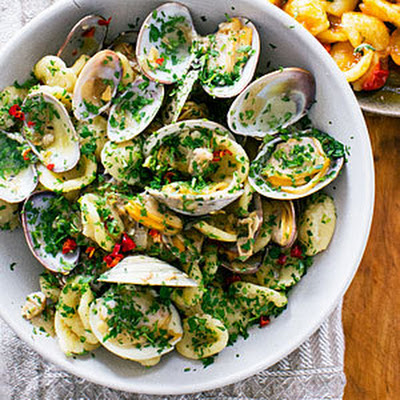Orecchiette with Clams, Chiles, and Parsley