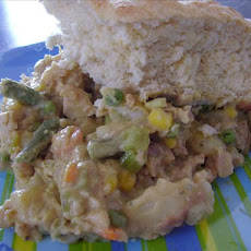 Pot Pie Casserole With a Biscuit Topping.