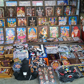 Selling Almighty ! by Darshan Trivedi - Instagram & Mobile Android ( temple, photos, god, selling, frames, pilgrims, deity, pictures, india, devotee )
