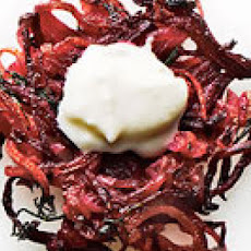 Potato-Beet Latkes with Horseradish Cream