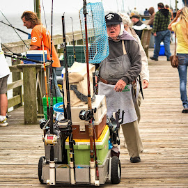 Old Fisherman by Lou Plummer - People Portraits of Men ( oak island, pier, beach, fishing, north carolina )