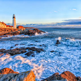 Power by Tom Whitney - City,  Street & Park  City Parks ( stormy, shore, fort williams, park, waves, lighthouse, crashing, sunrise, house, light, rocks )