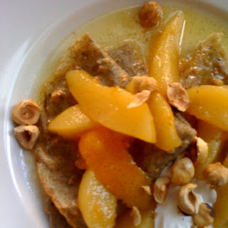 Hazelnut-Buckwheat Crepes with Pear-Ginger Compote and Creme Fraiche