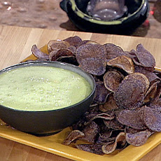 Peruvian Purple Potato Chips with Cilantro Aioli