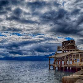 Topedo industry, Rijeka Croatia by Marko Hanžeković - Landscapes Cloud Formations ( rijeka, clouds, old, croatia, sea, grey, d3200, house, beach, torpedo, nikon, landscape )