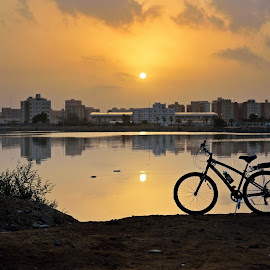 In the canal by Pete Velasquez - Transportation Bicycles ( jeddah, canal, trek, golden hour, bicycle )