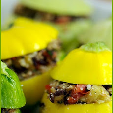 Small Stuffed Zucchinis with Black Rice and Oregano