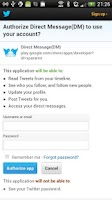 Screenshot of Direct Message for Twitter