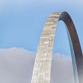 Rising Above the Clouds by Paulo Peres - Buildings & Architecture Statues & Monuments ( eero saarinen, st louis, missouri, cantenary arch, gateway, arch, monument, architecture, stainless steel )
