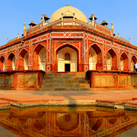by PINAKI MITRA - Buildings & Architecture Public & Historical ( water, tomb, reflection, islamic, mughal architecture, indian, garden tomb, architecture, heritage, unesco, delhi, india, humayun's tomb, mughal, unesco world heritage, medieval, humayun )