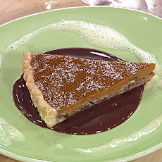 Sweet Potato Pecan Tart with Creme Anglaise and Chocolate Sauce