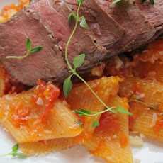 Fresh Rigatoni with Marinara and Steak