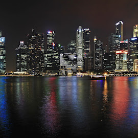 Marina Bay, Singapore. by Tony Yee - Buildings & Architecture Office Buildings & Hotels ( night lights, buildings, reflections, night, marina bay, singapore, nightscape )
