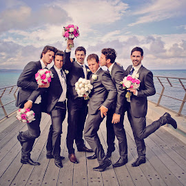 Boys will be Boys by Alan Evans - Wedding Groups ( groomsmen, wedding photography, lorne wedding photographer, wedding flowers, aj photography, fun, wedding fun, great ocean road wedding photographer, wedding, wedding day, flowers, groom, kisses,  )