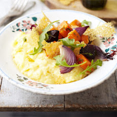 Polenta, roasted vegetables & peppered Parmesan crisps