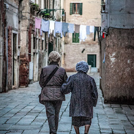Old ladies in Venice by Paul Stonehouse - City,  Street & Park  Street Scenes ( walking, venice, italy, old ladies )
