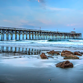 Pawleys Island Pier by Cathie Crow - Buildings & Architecture Bridges & Suspended Structures ( pawleys island, piers, atlantic ocean, hdr, sunset photography, sunset, hdr photography, south carolina )