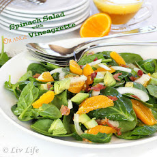 Spinach Salad with Orange Vinaigrette and Prosciutto