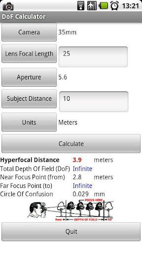 dof-calculator for android screenshot