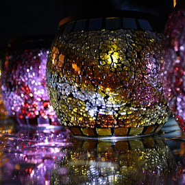 Let Your Light Shine by Laura Gardner - Novices Only Objects & Still Life ( red, purple, solar lights, colors, night time, yellow, gold, mosaic, glow, rain,  )