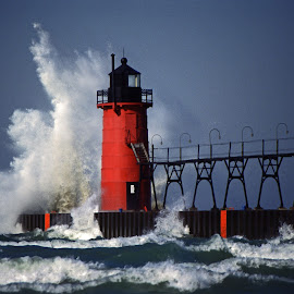 South Haven South Pier Light by Norm Dunlap - Buildings & Architecture Other Exteriors ( lighthouse - south haven - michigan - wave - lake michigan )