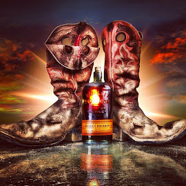 by Bo Dunn - Food & Drink Alcohol & Drinks ( boots, bourbon, sky, reflections, HDR )