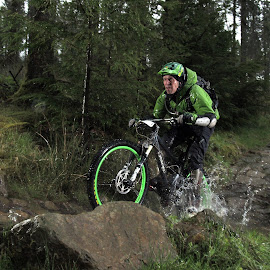 Cycling in Wales by Turnip Towers - Sports & Fitness Cycling ( coed-y-brenin, water, mountain bike, wet, rain )