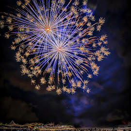 Fireworks in Sardinia by Stefania Loriga - Abstract Fire & Fireworks ( sardinia, fireworks, night, beach, italy, light )