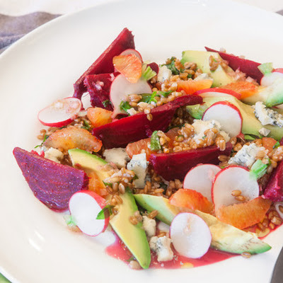 Beet, Avocado, and Spelt Salad with Blood Orange and Gorgonzola
