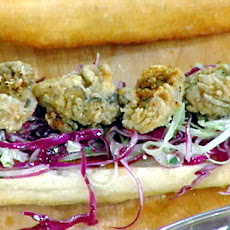 Fried Oyster Poor Boys with Homemade Bbq Sauce and a Crunchy Blue Cheese Slaw