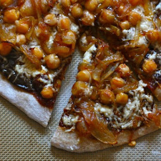 Barbecue Chickpea Pizza with Gouda and Caramelized Onions