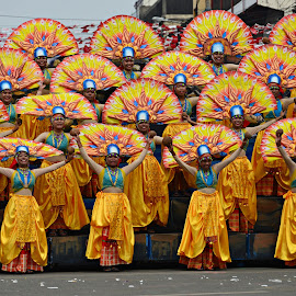Yellow dancers by Banggi Cua - People Musicians & Entertainers ( costumes, dinagyang, filipino dancers, travel, festival dancers, philippines )