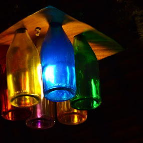 Bottled Light by Anjsh Lacanlale - Artistic Objects Glass ( lamp, colored, bottle, light )