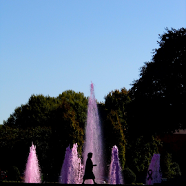Woman & Fountain  by Lorie  Carpenter  - Buildings & Architecture Other Exteriors ( water, fountain, trees, pink, women )
