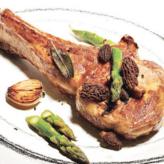 Veal Chops with Asparagus and Morels