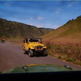yellow jeep.. transportation to Bromo Mountain by Dwi Ratna Miranti - Transportation Motorcycles