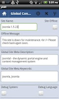Screenshot of Joomla Admin Mobile!
