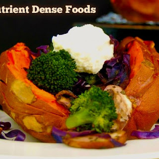 Baked Sweet Potatoes with Veggies and Cashew Cauliflower Cream