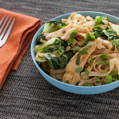 Stir-Fried Chicken Pad Thai with Baby Tatsoi & Spicy Peanut Sauce