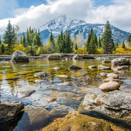 This small river is feed from jenny lake at the base of the tetons by Shaun Peterson - Landscapes Mountains & Hills