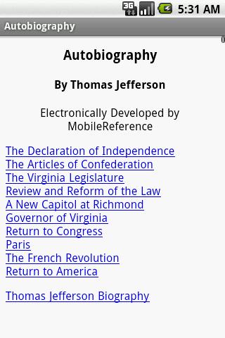 【免費書籍App】Autobiography by Jefferson-APP點子