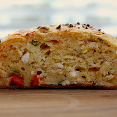 Roasted Red Pepper, Feta & Basil Skillet Scones