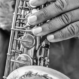 Jazz Hands by Jill Gibney - People Street & Candids ( hands, black and white, musician, street photography )