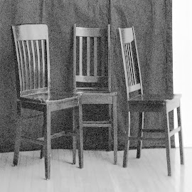 3 Chairs by David Stone - Artistic Objects Furniture ( black and white, chairs, arranged chairs, bw, black chairs, square )