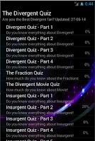 Screenshot of Fan Trivia Divergent Quiz Book