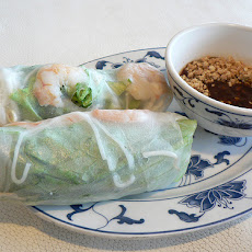 Minted Shrimp and Mango Summer Rolls with Cashew-Mirin Dipping Sauce
