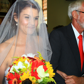 The Happy Bride by David Smith - People Family ( bouquet, church, wedding, bride, father )