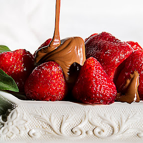 Chocolate and Strawberries by Sandra Hilton Wagner - Food & Drink Candy & Dessert ( chocolate, desert, presentation, strawberries, leaves, candy, dessert, sweet, , Food & Beverage, meal, Eat & Drink )